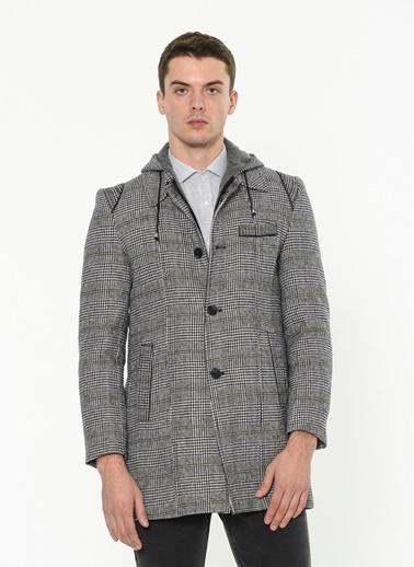 Dewberry Kapüşonlu Klasik Yün Palto Gri